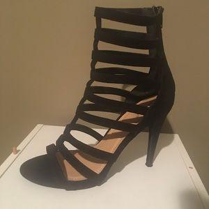 Diba Women's Blk Velvet Gladiator Strappy Heels